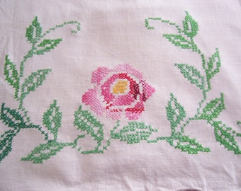 Embroidered Table Runner Cross Stitched Pink Rose Circa 1960s Dresser Scarf So Shabby Chic