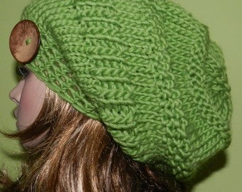Knit Slouch HIPPIE Hat, Slouchy Chunky Cap, Big Beanie, Boho Winter Cap, Hipster Hat with big button - Pure Wool - Green Apple