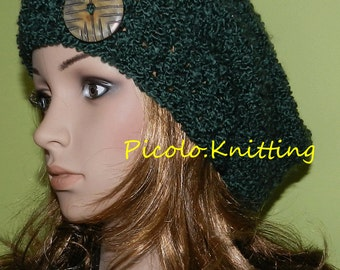All Season Slouchy Hat in Green, Rasta Hat, Hipster Slouchy Hat, Hippie Beanie, Chunky Women/Teen Hat Green Rich Boucle