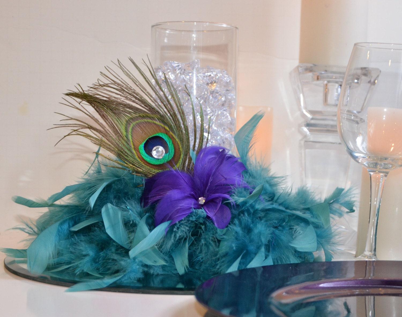 10 peacock feather wedding reception centerpieces by - Peacock arrangements weddings ...