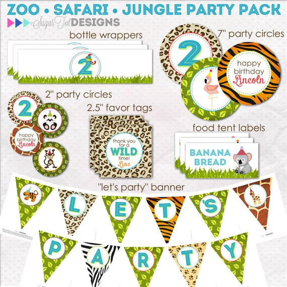 Zoo Jungle Safari Themed Birthday Wild Animals Di