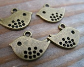 50 Bronze Bird Charms 16mm Antiqued Bronze