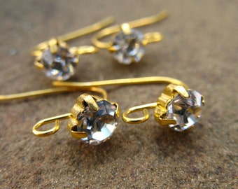 4 pairs Gold Earring Wires with Rhinestone Setting 18mm