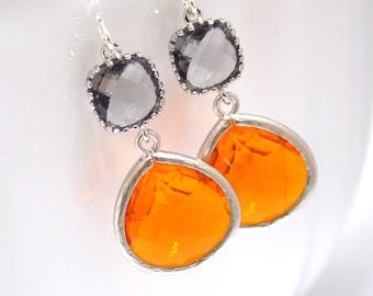 Orange Earrings, Gray Earrings, Grey Earrings, Tangerine, Carnelian, Silver, Glass Earrings, Bridesmaid Earrings, Bridesmaid Gifts