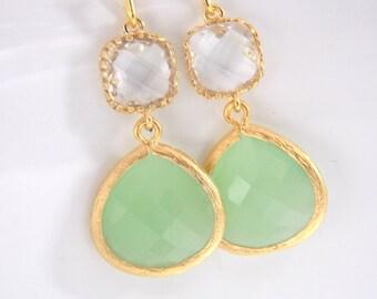 Gold Green Mint Earrings, Light Green Earrings, Clear, Gold Earrings, Wedding Jewelry, Bridesmaid Earrings, Bridal Jewelry, Bridesmaid Gift