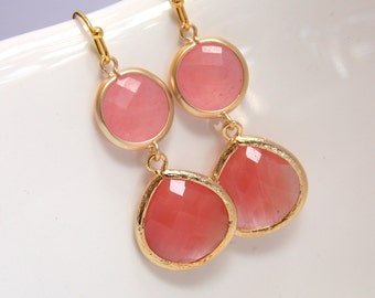 Coral Earrings, Peach Earrings, Pink, Glass Earrings, Gold Earrings, Grapefruit, Bridesmaid Earrings, Bridal Jewelry, Bridesmaid Gifts