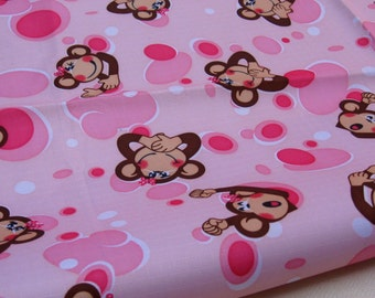 "W024A  - Vinyl Waterproof Fabric - Happy monkey - pink   - 27"" x 19"" (70cm x 50cm )"