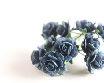 "1/2"" Small Indigo Paper Roses (10 blooms)"