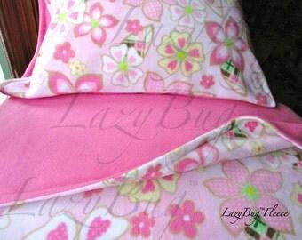 Crib Toddler Fleece Bedding Set  'Pink Flower Power' for Girls  Fits Crib and Toddler Beds