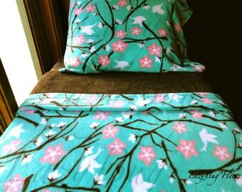 Girls Bedding Set 'Cherry Blossoms and Birds' Girls Handmade Fleece Bed Set Fits Crib and Toddler Beds