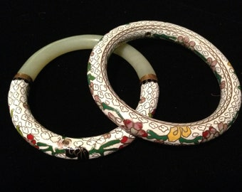 Set of Two Chinese Export Natural Jade and White Cloisonne Bangle Bracelets