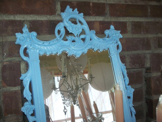 RaRe Ornate vintage baby boy shower, French blue shabby chic, baby nursery, cottage mirror CAN be chalkboard