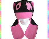Hugs and Kisses Bunny Hat (Black and Pink) - Fleece Rave Dance Kawaii Cute Clothing Chibi Long Ears Rabbit Cosplay Anime Adult Teen Child
