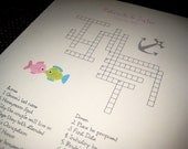 Custom Crossword Puzzle - Beach Themed - Perfect for weddings, rehearsal dinners and showers