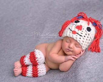 Baby Crochet Raggedy Ann Hat and Leg Warmer Set Photography Prop Halloween Costume -Treasured Little Creations