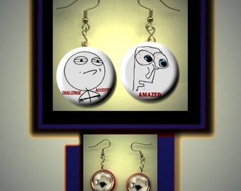 RAGE COMIC meme faces expressions Amazed Challenge Accepted Altered Art Dangle Earrings with Rhinestone