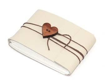"Cream Leather Journal or Sketchbook with Heart Button, Pocket Sized, Handbound Coptic Stitch - 2 3/4"" x 3 3/4"""