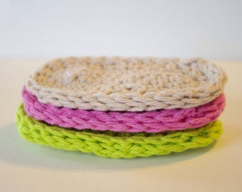 Crocheted Baby Teething Biscuits - 100% Soft Cotton  - Set Of 3 - Handmade