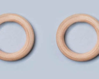 2 Plain Unfinished Wooden Rings- Montessori Inspired Toy