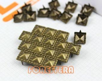 200Pcs 8.5mm Antique Brass Dotted Border PYRAMID STUDS Metal Studs (BDP08)