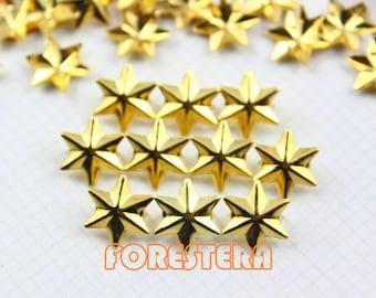 50Pcs 13mm GOLD Six Pointed STAR Hexagram Studs Metal Studs (JLS13)