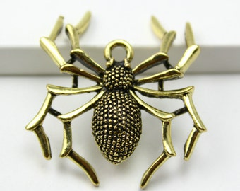 10Pcs Antique Brass spider Charm spider Pendant 34x30mm (PND349)