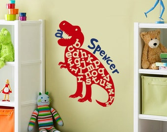 Alphabet Dinosaur Wall Decal, Alphabet Vinyl Wall Decal, Dinosaur Name Decal, Boys Dinosaur Decals, ABC Stickers, Kids Name Wall Decal