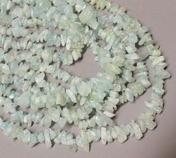 AQUAMARINE Chips - 6mm Gemstone Beads - 2 Strand of 33'' - Ref 1488