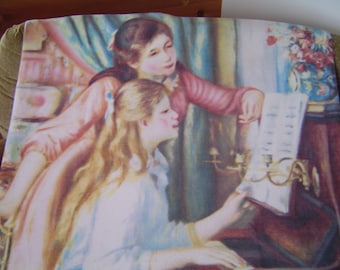 "Renoir ""Two Young Girls at the Piano"" Fleece Blanket 58"" x 45""Piano Lesson, Teacher,  Student,  Music, Recital Gift New"