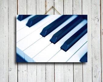 Piano Blue - Piano canvas art - Piano photography - Piano Keys art - Blue Piano - Music decor - Blue decor