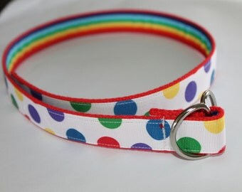 Rainbow Belt Reversible Girls Belts Polka Dot Girl Belt Circus Belt kids two sided belt Primary Color Belt