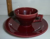 Vernon Kilns Early California Maroon Angular Cup and Saucer Demitasse