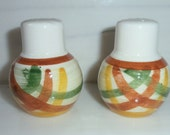 Vernon Kilns Homespun Plaid Salt and Pepper Shakers