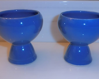 Vernon Kilns Egg Cups Blue Early California Two Double Egg Cups