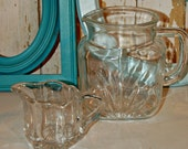 SPECIAL ORDER Reserved For REBECCA Vintage Federal Glass Company Pitcher and Green Bottle
