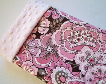 Pink and Brown Floral print./Soft Minky Baby Blanket ,Ready to Ship