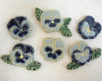 Handmade Ceramic Tiles PANSIES Blue Shades set of 6