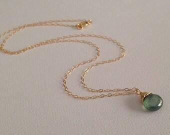 Mystic Green Quartz Gem Necklace in Gold -Green Gem Necklace in Gold