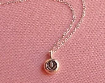 Silver Lotus Necklace -Lotus Necklace in Sterling Silver -Yoga Necklace in Silver