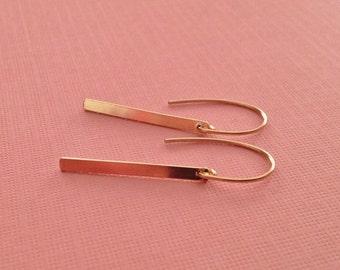 Gold Bar Drop Earrings -Long Gold Earrings -Gold Spike Earrings