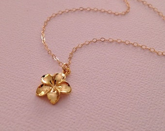 Plumeria Necklace in Gold -Gold Plumeria Necklace -Hawaii Necklace