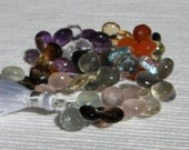 Semiprecious Mix Microfaceted Hearts, 8-10mm, HALF Strand