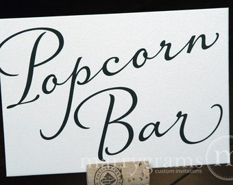 Popcorn Bar Sign or Buffet Station Table Card Sign - Wedding Reception Seating Signage - Matching Numbers Available SS03
