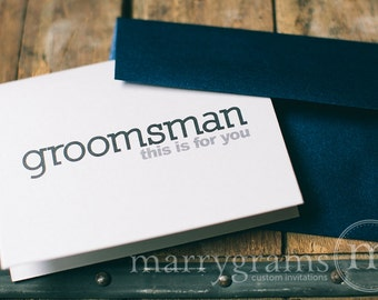 To My Groomsman, Best Man, Ring Bearer, Usher Wedding Party... Wedding Thank You Cards to go with a Gift (Set of 6)