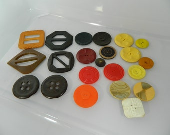 Vintage Buckles and Buttons Bakelite, Celluloid and Plastic Lot