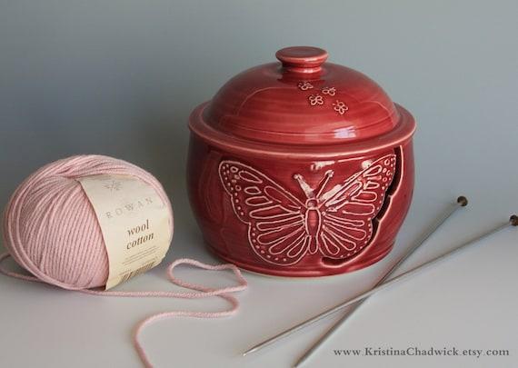Lidded Yarn Bowl in Burgundy - Vogue Knitting LIVE NYC