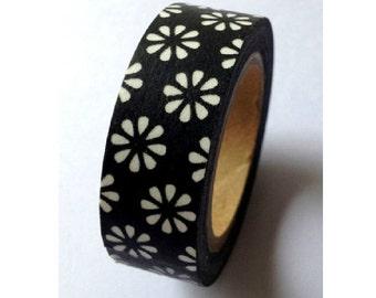 Japanese Washi Masking Tape - Daisy with Black - 11 yards