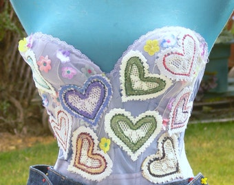 hand dyed and hearts added corset   bust 36b