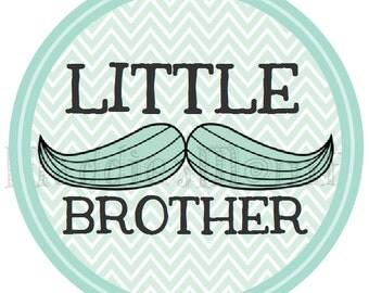 Little Brother Mustache DIY Iron on T shirt Transfer - Stache - Blue