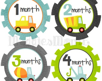 Monthly Baby Boy Stickers, Baby Month Stickers, Monthly Bodysuit Sticker, Monthly Stickers Transportation Trucks Cars (Gears)